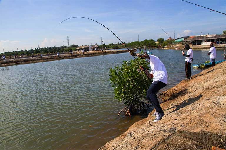 Hồ câu cá nước mặn Chín Phước là sự lựa chọn của những đối tượng đam mê quăng cần bắt mồi