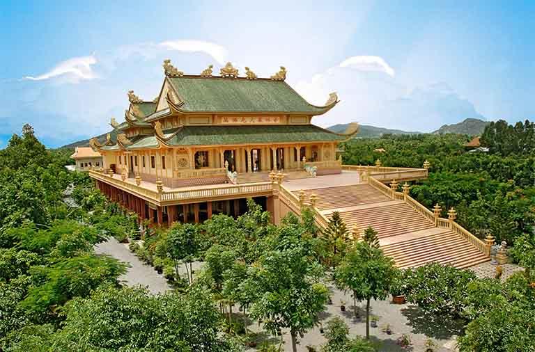 Vẻ đẹp hùng vĩ của chùa Đại Tòng Lâm sẽ khiến du khách mắt chữ A và mồm chữ O khi đến đây